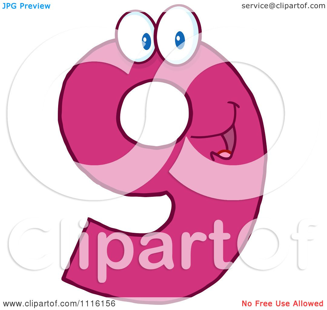 1080x1024 Clipart Happy Pink Number 9
