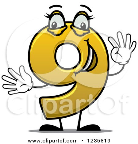 450x470 Clipart Of A Happy Yellow Number Nine Holding Up 9 Fingers