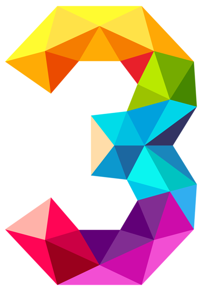 417x600 Colourful Triangles Number Three Png Clipart Image Alphabets
