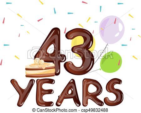 450x361 Happy Birthday Forty Three 43 Year. Vector Illustration Vector