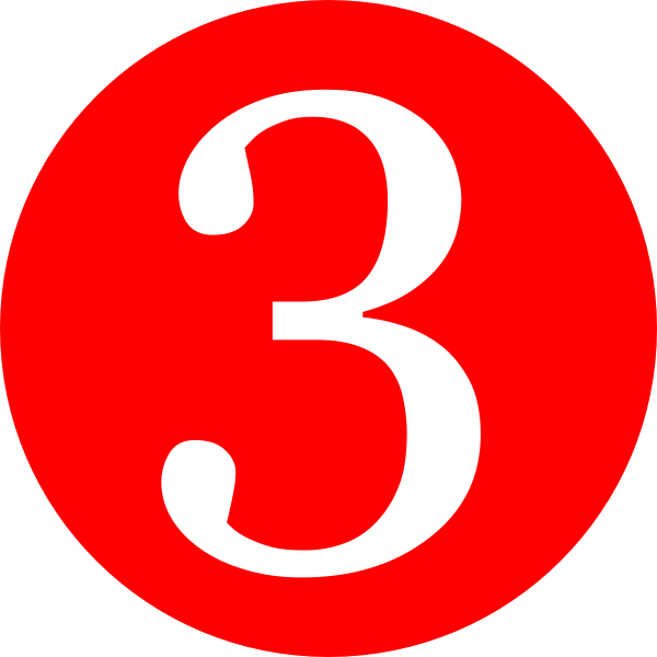 600x600 Red, Rounded,with Number 3 Clip Art