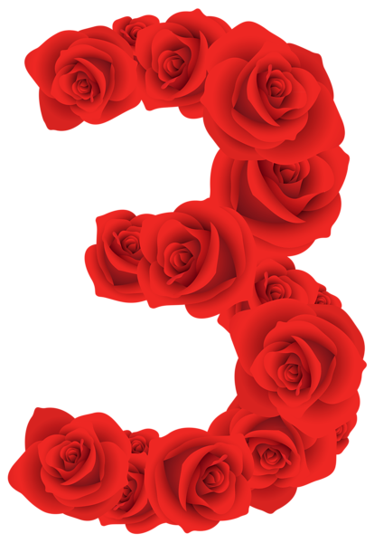 414x600 Red Roses Number Three Png Clipart Image Numbery