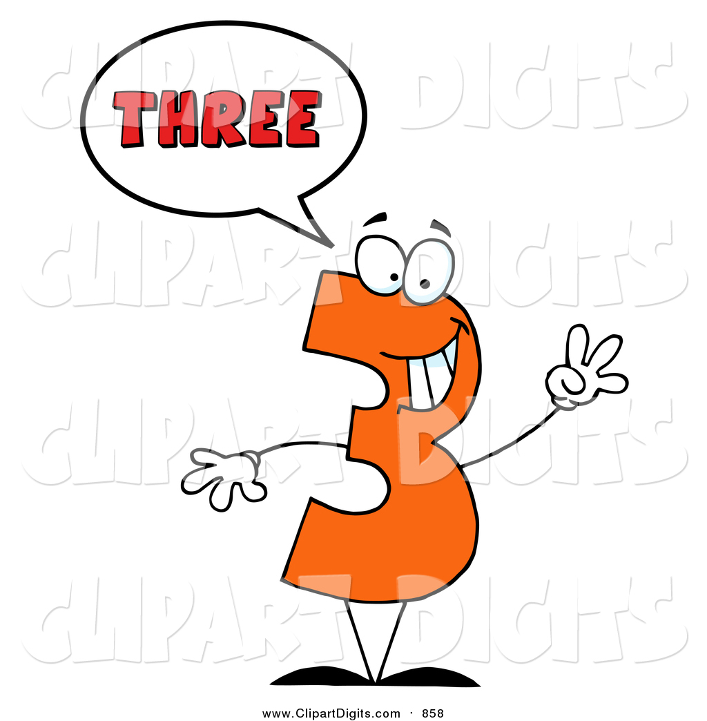 1024x1044 Vector Cartoon Clip Art Of A Number Three Character Saying Three