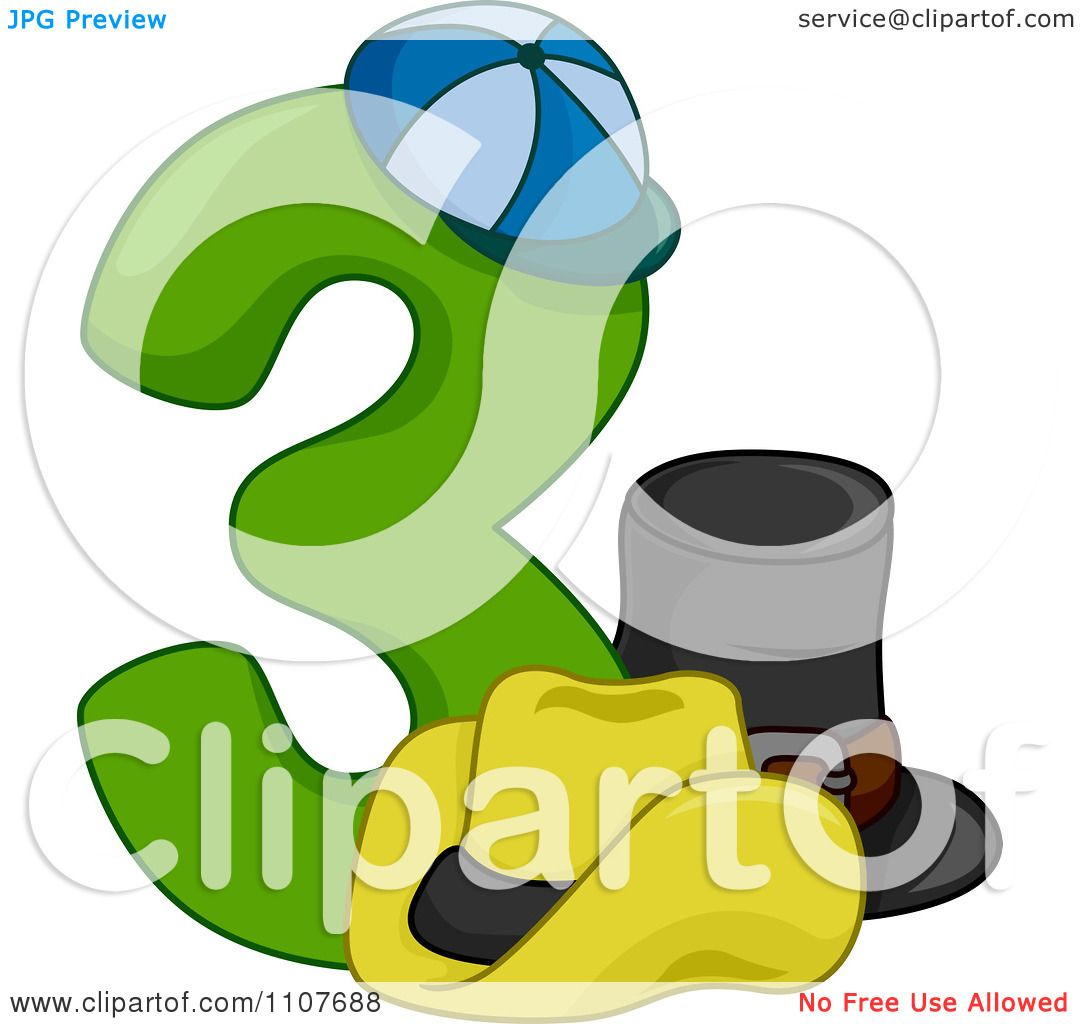 1080x1024 Clipart Number Three With 3 Hats