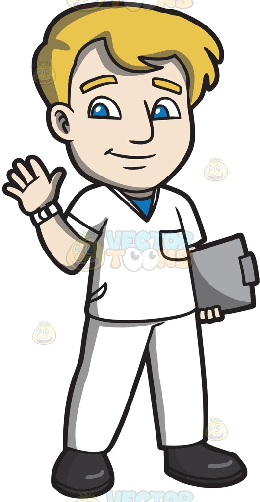 530x1024 A Warm And Friendly Male Staff Nurse Cartoon Clipart Vector Toons