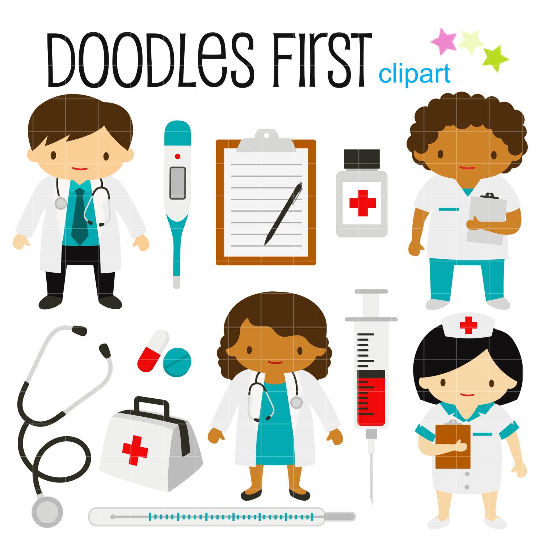 1500x1500 Little Doctors And Nurses Digital Clip Art For Scrapbooking