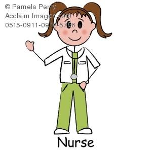 300x300 Clip Art Illustration Of A Stick Figure Surgical Nurse