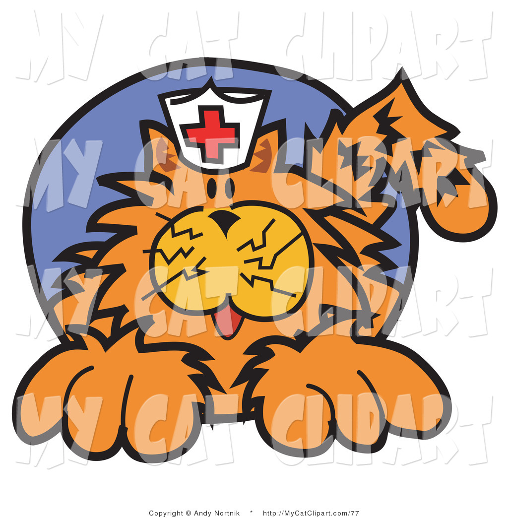 1024x1044 Clip Art Of A Ginger Cat Wearing A White Nurse Hat With A Red
