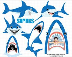 236x187 Set Of Scary Sharks In Cartoon Style 3.png Sea Animals Clip Art