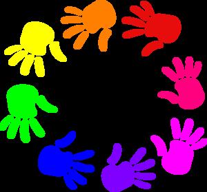 300x279 Colorful Circle Of Hands Nursery School Clip Art