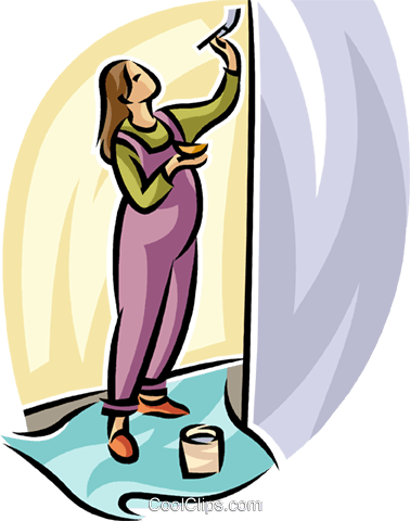 378x480 Pregnant Woman Painting The Nursery Royalty Free Vector Clip Art