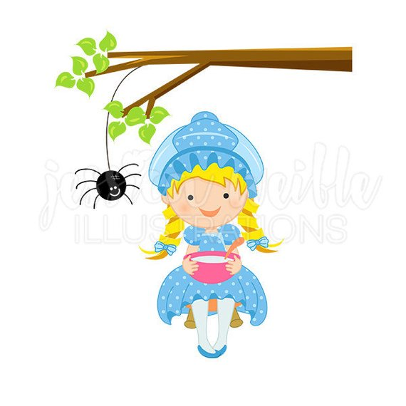 570x570 Miss Muffet Cute Digital Clipart Nursery Rhyme Clip Art