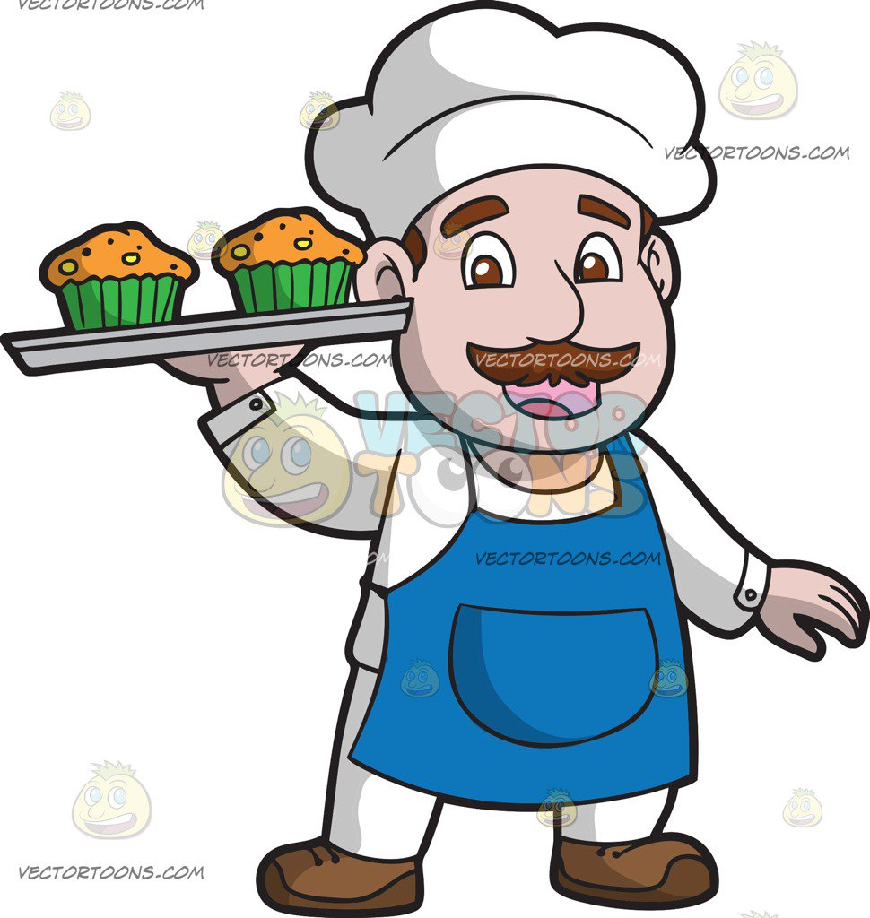 970x1024 The Muffin Man Carrying A Tray Of Fresh Muffins Cartoon Clipart