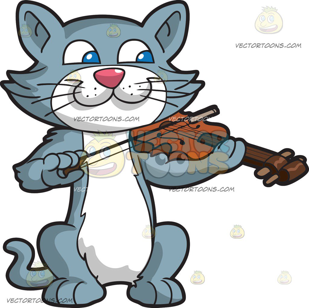 1024x1021 A Cat Playing The Violin Cartoon Clipart Vector Toons