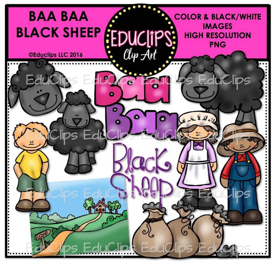 933x888 Baa Baa Black Sheep Nursery Rhyme Clip Art Bundle (Color And Bampw