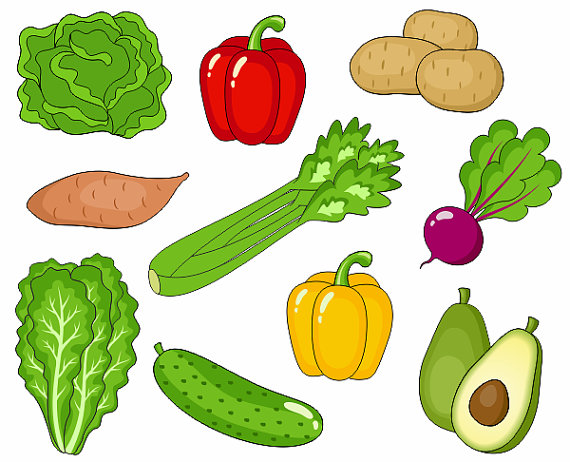 570x462 Vegetables Clip Art, Cute Veggies Clipart, Digital Clip Art