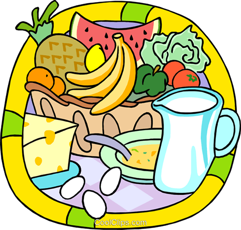 480x457 Fresh Fruits And Dairy Products Royalty Free Vector Clip Art