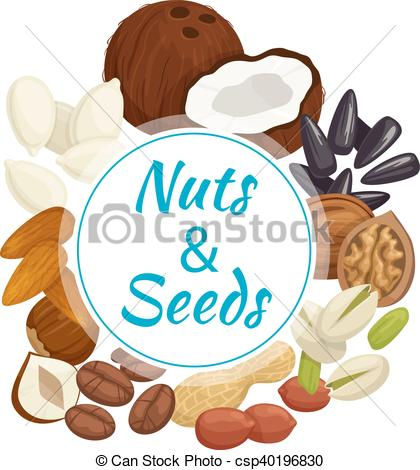 420x470 Healthy Nuts, Seeds Beans Round Badge. Nuts, Seeds