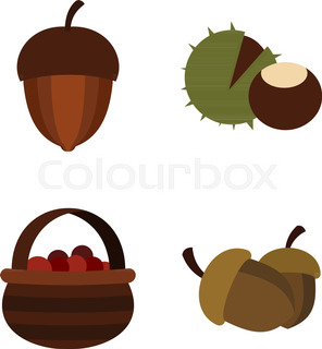 296x320 Cartoon Nuts And Berries. Vector Clip Art Illustration With Simple