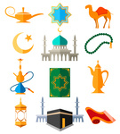 135x150 Arabic Seamless Pattern With Camel, Palace, Oasis And Hookah