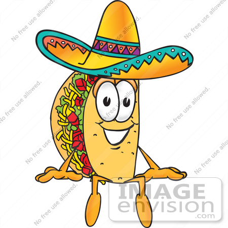 450x450 Clip Art Graphic Of A Crunchy Hard Taco Character Sitting