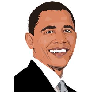 300x300 Realistic Barack Obama Portrait Clipart, Cliparts Of Realistic