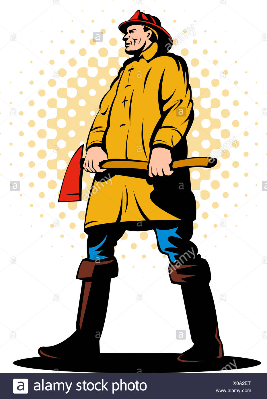 931x1390 Illustration Fireman Fire Fighter Done Stock Photos Amp Illustration