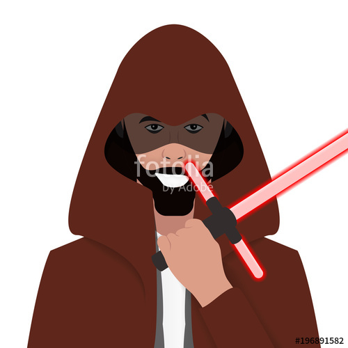 500x500 Cartoon Character. Avatar Symbol. Jedi Knight. Vector Stock Image