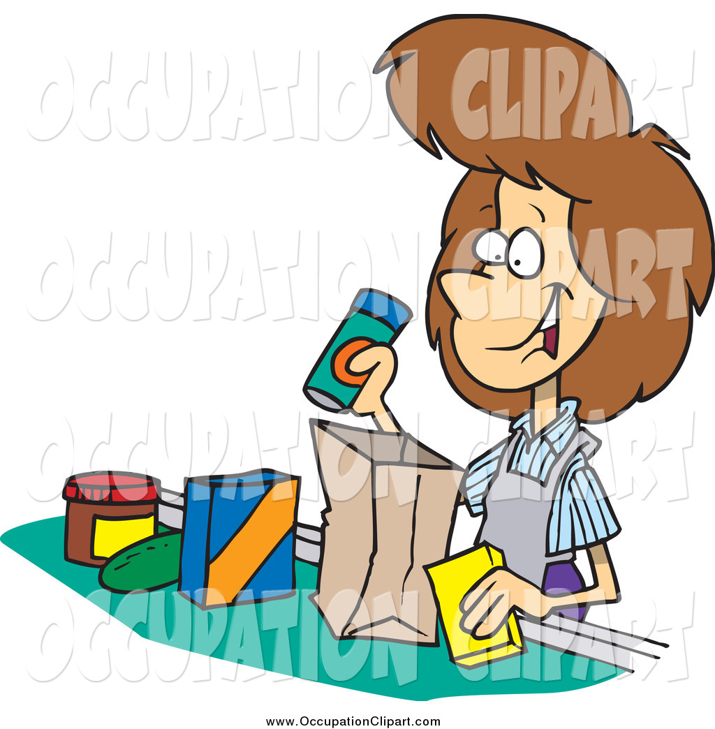 1024x1044 Clip Art Of A Friendly Brunette White Female Cashier Bagging