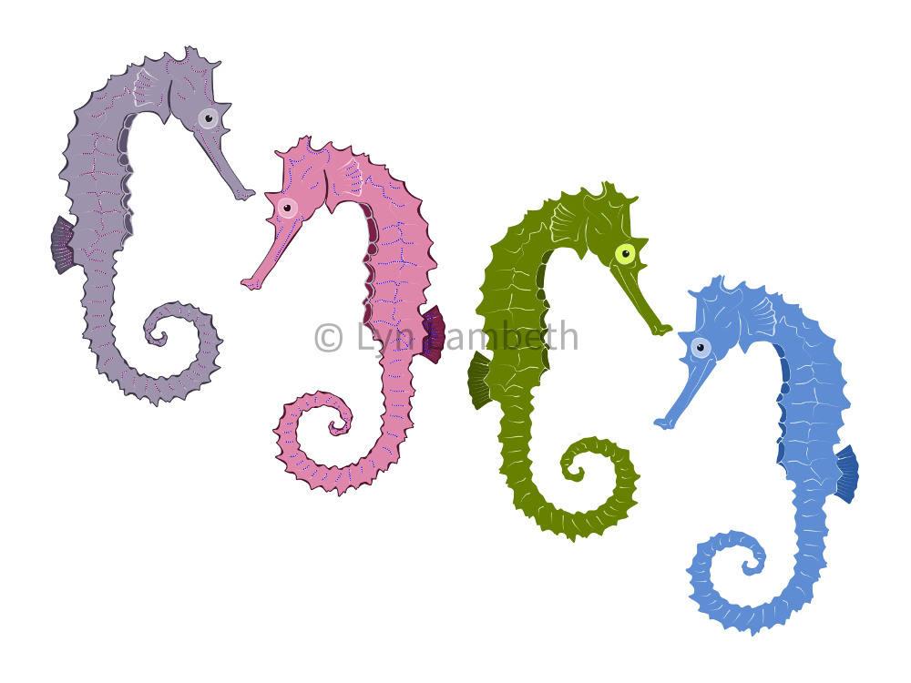 1000x750 Seahorse Clipart, Instant Download, Sea Clip Art, Ocean Animals