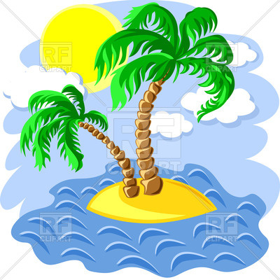 400x400 Tropical Island In The Ocean With Two Palm Tree Royalty Free