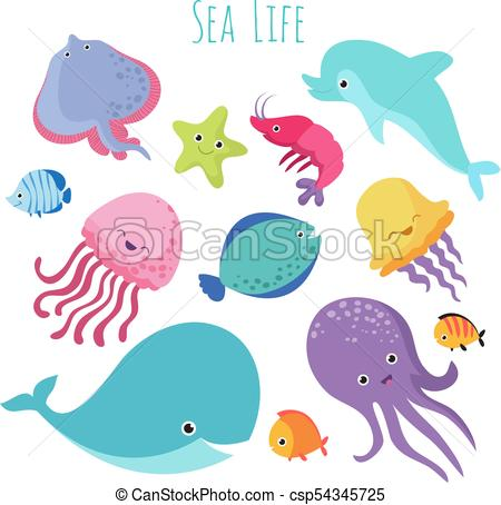 450x454 Cute Baby Sea Fishes. Vector Cartoon Underwater Animals Collection