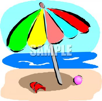 350x348 Royalty Free Clip Art Image Colorful Beach Umbrella By The Ocean
