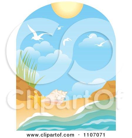 450x470 Clipart Rough Ocean Waves And Gulls Against Green Sun Rays