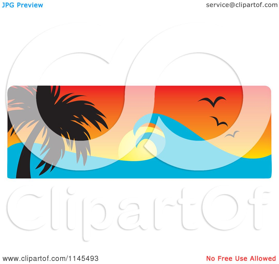 1080x1024 Clipart Of A Hawaian Ocean Sunset Website Banner With Palm Trees
