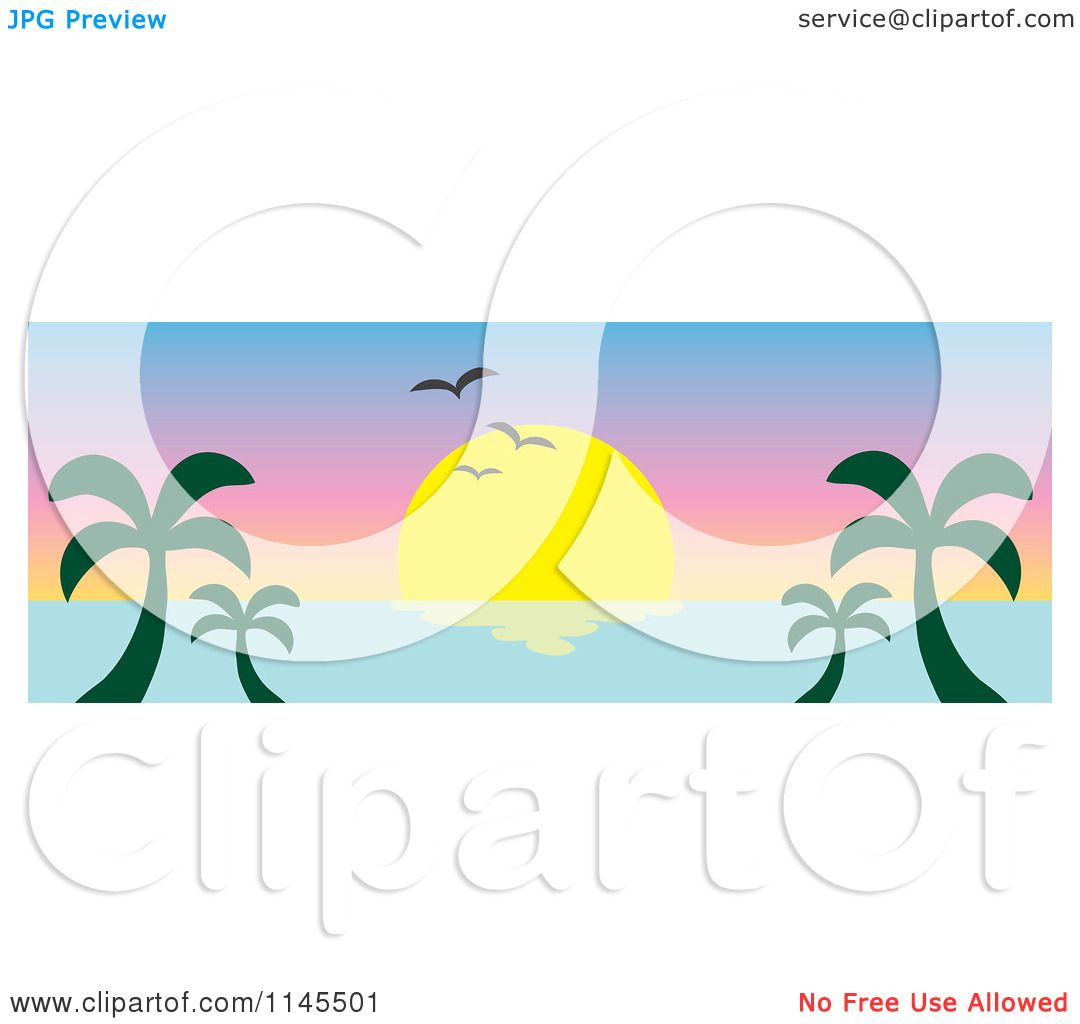 1080x1024 Clipart Of A Hawaiian Ocean Sunset Website Banner With Palm Trees