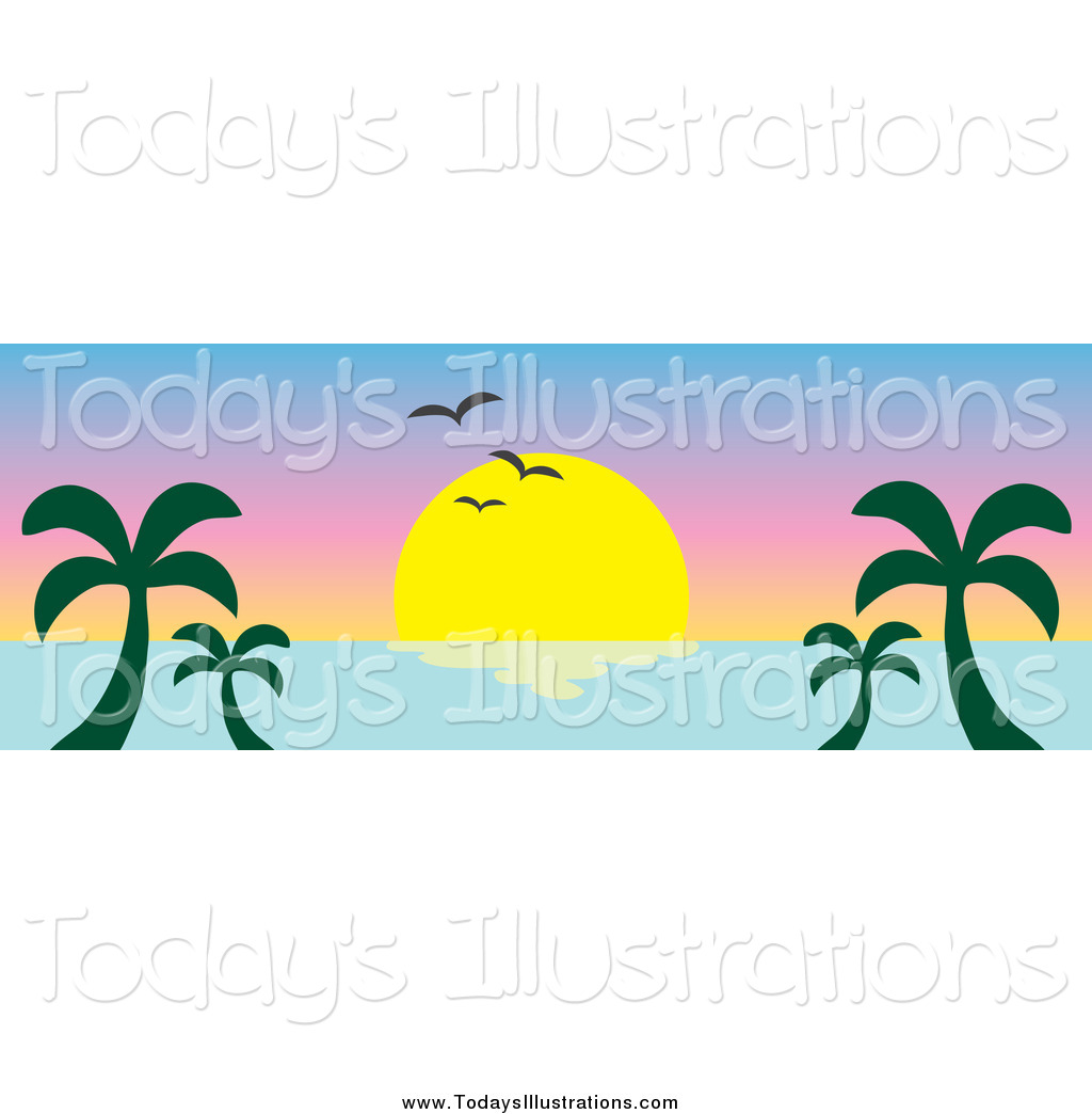 1024x1044 Clipart Of An Ocean Sunset Banner With Palm Trees And Seagulls By