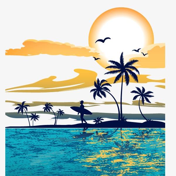600x600 Great Ocean Sunset Decoration Vector, Wave, Sandy Beach, Sunset