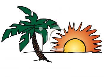 350x262 Tropical Island Sunset With Palm Tree