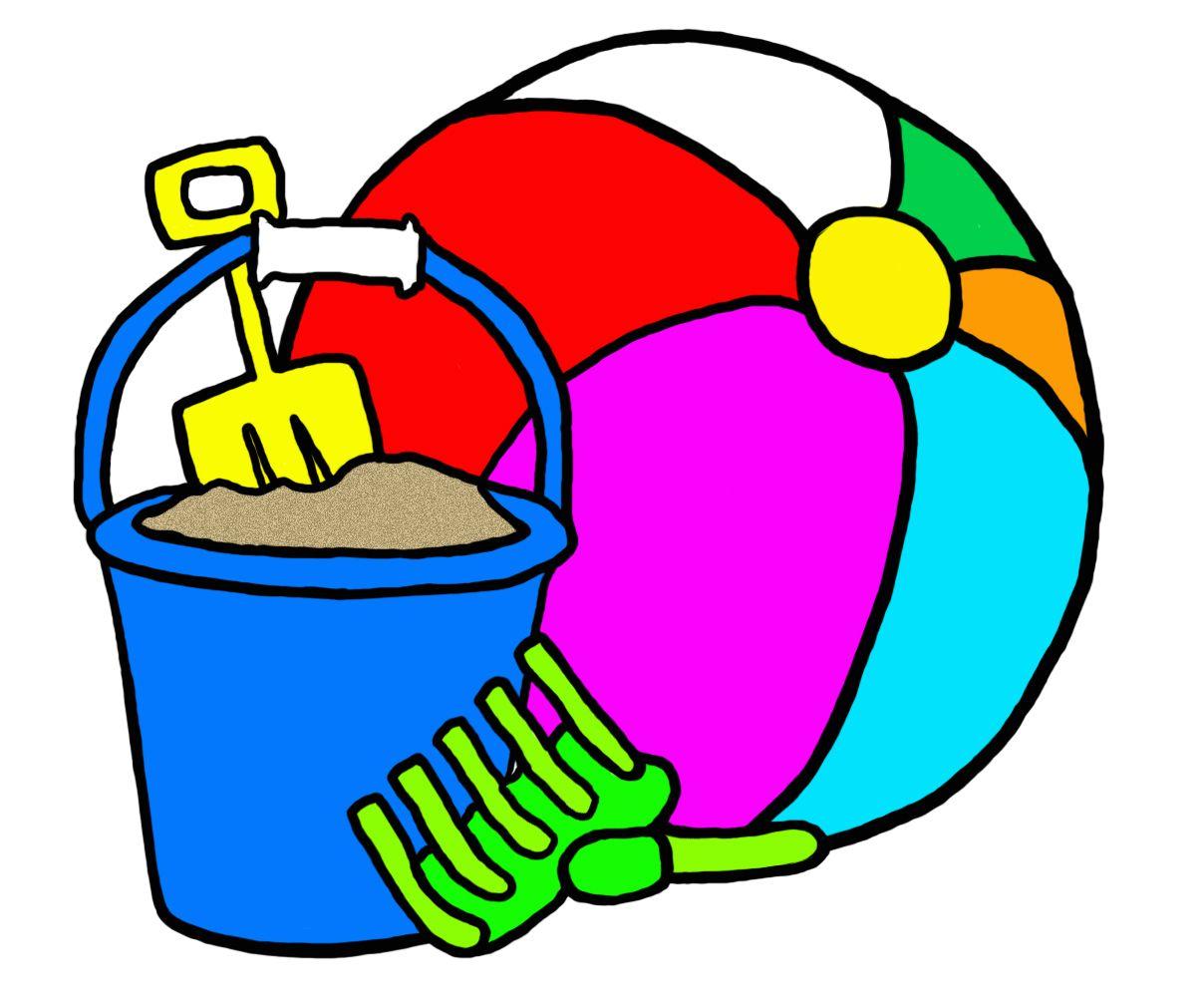 1208x1000 Beach Drawings Graphic, Clip Art, Beach Toys, Summer, Fun, Pail