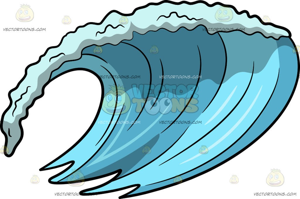 1024x680 A Strong Ocean Wave Current Cartoon Clipart Vector Toons