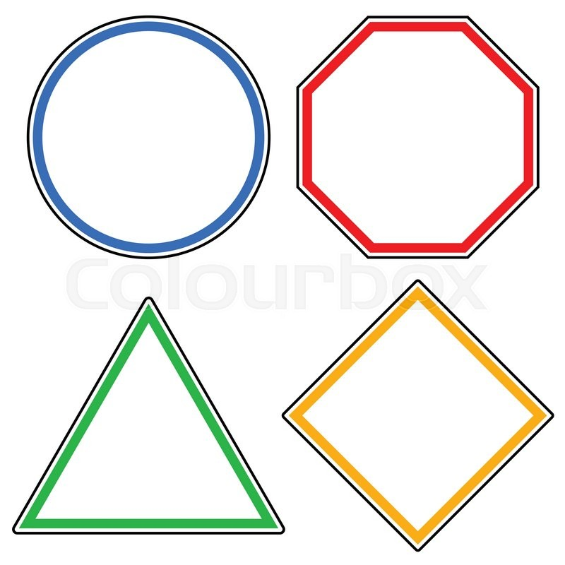 800x800 Set Of Roadsigns. Circle, Octagon (Stop Sign), Triangle And Square