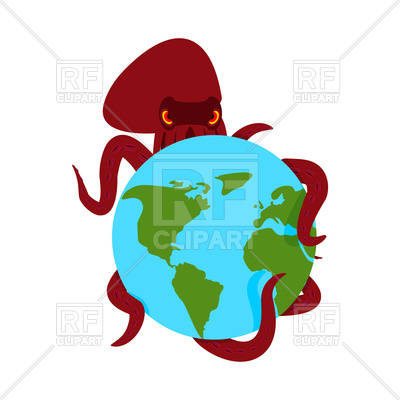 400x400 Octopus And Earth. Monster And Planet. Royalty Free Vector Clip