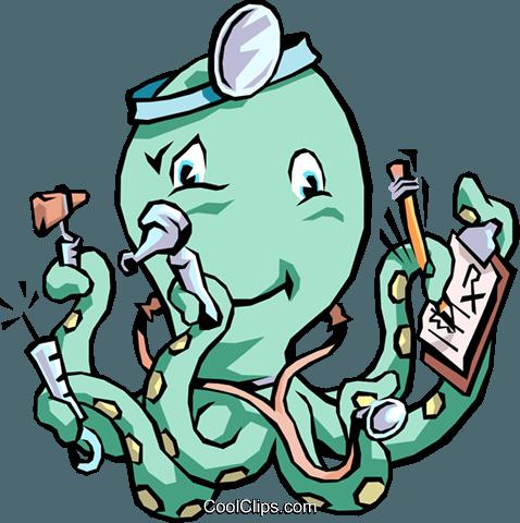 478x480 Octopus Doctor Royalty Free Vector Clip Art Illustration Cart1497