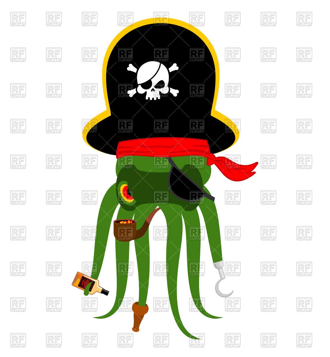1107x1200 Octopus Pirate Cartoon Character Royalty Free Vector Clip Art