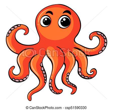 450x441 Orange Octopus On White Background Illustration Vectors