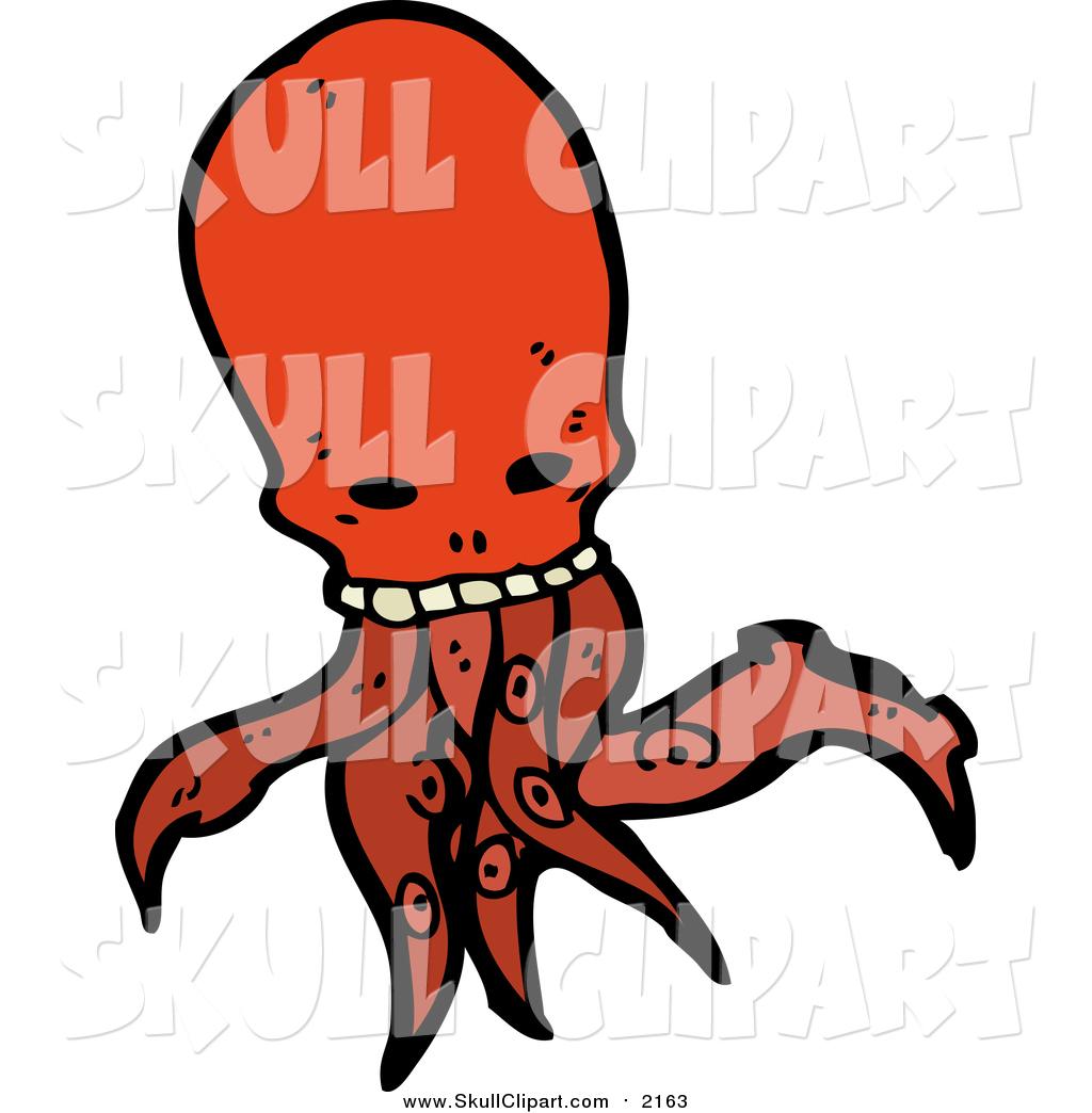 1024x1044 Vector Clip Art Of A Red Skull Head Octopus Monster By