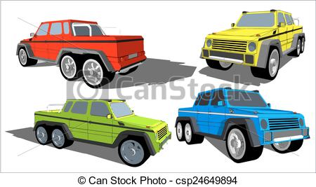 450x267 Six Wheels Off Road Truck. Vector Image Of An Off Road Truck