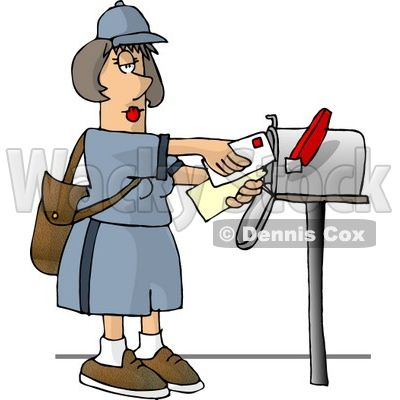 400x400 Post Office Worker Cliprt Carrier Delivering Mail Into