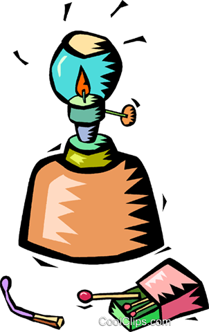 302x480 Oil Lamp With A Box Of Matches Royalty Free Vector Clip Art